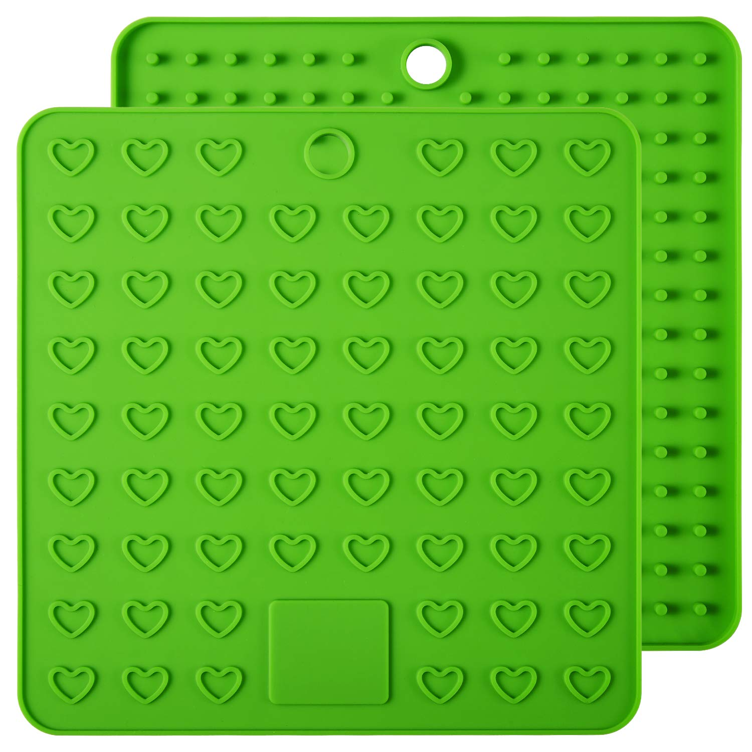 ME.FAN Silicone Pot Holder & Trivets - 2 Set Silicone Hot Pads,Potholders and Hot Mitts, Insulated, Flexible, Durable, Non Slip Spoon Rest and Large Coasters (Green)