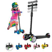 Hishine Kick Scooter for Kids with 3 Light up Wheels and Adjustable Height for 2-7 Years Old Ages Girls Boys Toddlers & Children,Lean to Steer, 3 Wheel Scooters