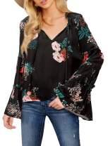 Asvivid Womens Casual Boho Floral Printed V Neck Tops Bell Long Sleeve Shirt Peasant Blouses