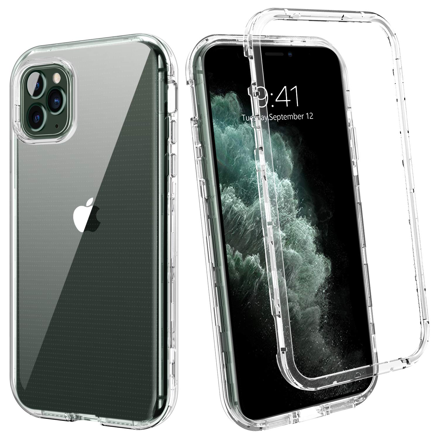 YINLAI iPhone 11 Pro Case 2019 Crystal Clear 3 in 1 Shockproof Drop Protection Heavy Duty Hybrid Hard PC Cover Bumper Full Body Protective Cases for iPhone 11 Pro(5.8 inch),Transpant