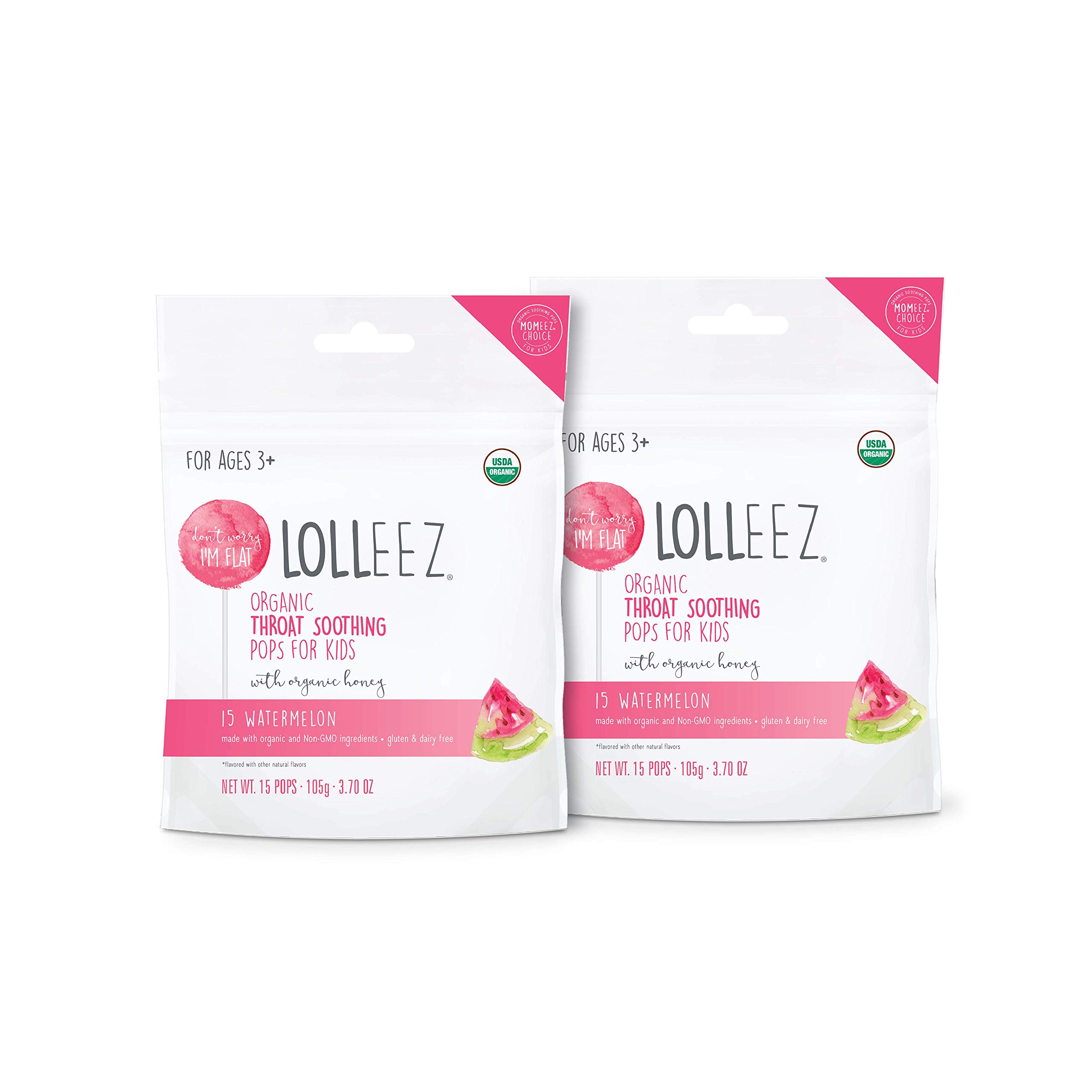Lolleez Organic Throat Soothing Pops for Kids with Organic Honey - 2pk Watermelon