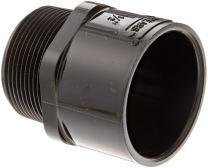 "Spears 436-B Series PVC Pipe Fitting, Adapter, Schedule 40, Black, 1-1/2"" NPT Male x 1-1/2"" Socket"