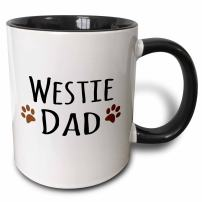 3dRose 154004_4 Westie Dog Dad Mug, 11 oz, Black