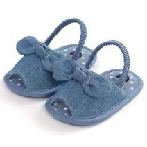 SOFMUO Infant Baby Girls Summer Sandals with Bownot Soft Sole Non-Slip Newborn Toddler First Walker Crib Dress Shoes