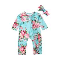 Baby Girls Floral Romper Sleepers Long Sleeve Bodysuit Jumpsuit with Bow Headband 2 Piece Pajamas Outfit Clothes