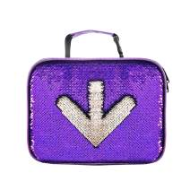 Sparkly Sequin Lunch Tote Bag Thermal Purple Flippy Lunchbox for School Outdoor Travel Picnic (Purple/Sliver)