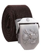 Men's Adjustable Canvas Belt Stainless Steel Buckle Military Waistband Coffee