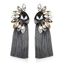 Statement Crystal Tassel Earrings Blue Drop Dangle for Women Girl Novelty Fashion Summer Accessories