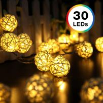 DecorNova Rattan String Lights, 19.7 Feet 30 LED Battery Operated Globe Ball String Lights with 3 AA Battery Case & 2 Lighting Modes for Bedroom Camping Christmas Tree Party Wedding, Warm White