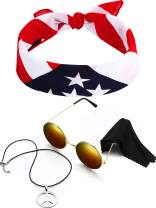3 Pieces Hippie Costume Set, Include Peace Sign Necklace, Headband, Sunglasses for Theme Parties (Style D)
