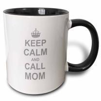 3dRose 157696_4 Keep Calm and Call Mom-Two Tone Black, 11oz Mug, 11 oz