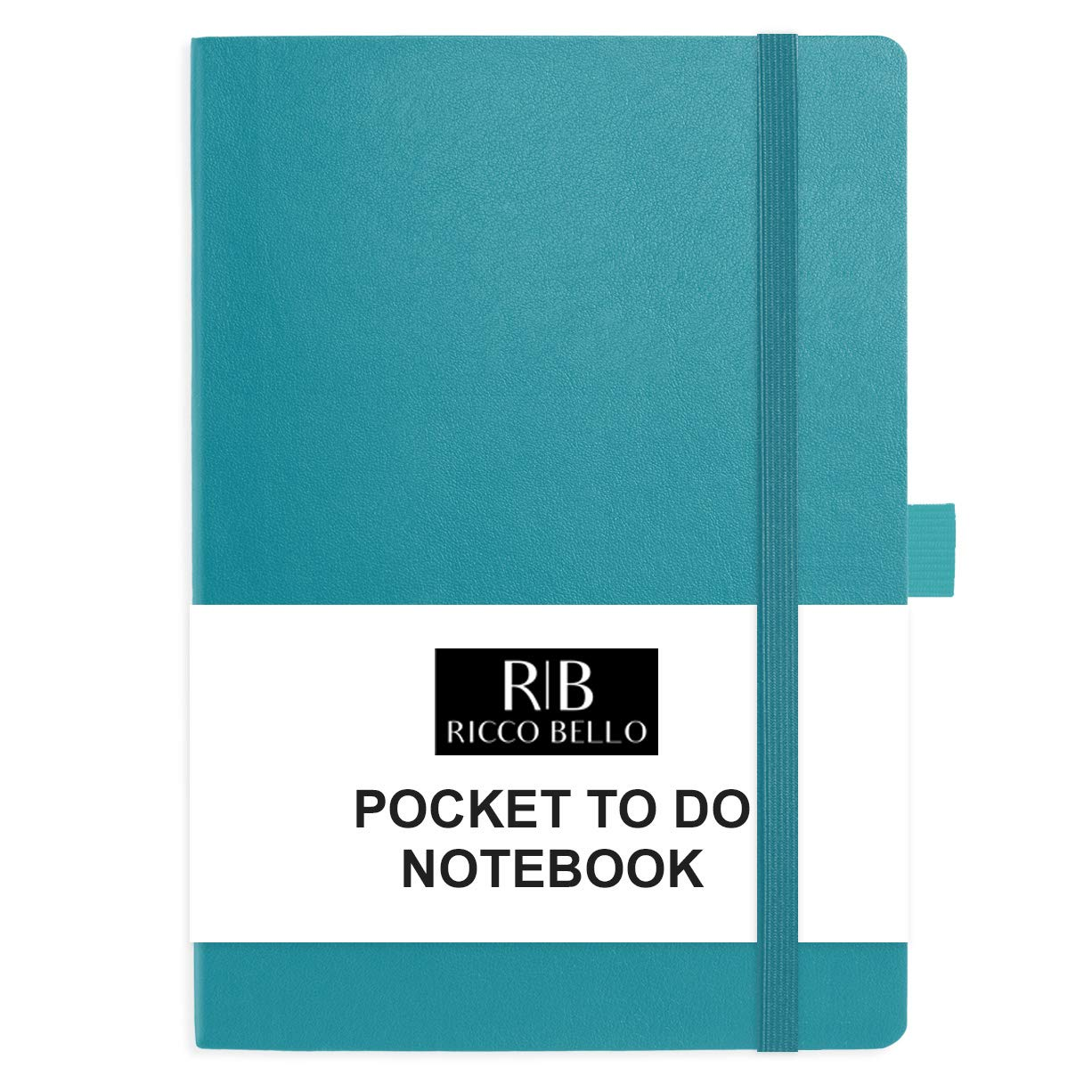 RICCO BELLO Small Hardcover Pocket to Do List Notebook, Elastic Band Closure, Pen Loop, Ribbon Bookmark, Storage Pocket, Vegan Leather 4.25 x 6 inches (Teal)
