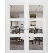 Solid French Double Doors 64 x 80 inches Clear Glass 3 Lites | Lucia 2555 Matte White | Wood Solid Panel Frame Trims | Closet Bedroom Sturdy Doors