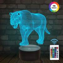 Lion Gifts, Lion 3D Night Light for Kids Bedside Lamp with Remote Control 16 Color Changing Xmas Halloween Birthday Gift Cool Room Decor for Child Baby Boy