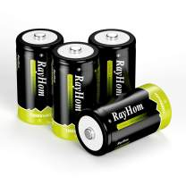 RayHom Rechargeable D Batteries 4Pack - 1.2V 10,000mAh Ni-MH High Capacity High Rate D Cell Size Battery with Box (4 Pack)
