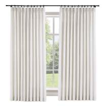 "ChadMade Extra Wide 150"" W x 96"" L Polyester Linen Drapes with Blackout Thermal Lining Pinch Pleat Curtain for Sliding Door Patio Door Living Room Bedroom, (1 Panel) Beige White"