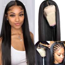 Smartinnov Human Hair Wig 13x6 Deep Parting #1b Natural Black Bob Lace Front Wig Glueless for Women(could be restyle) (22 Inch, 13x4 Lace Front Wig 1B Black)