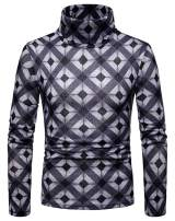 WHATLEES Mens Slim Fit Turtleneck Pullover Sweaters Print Designed Thermal Shirts