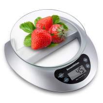 Digital Precision Food Kitchen Scale 11 lbs/0.1Oz (Batteries Included) Multifunction Weighing Gram Scale with Glass for Baking and Cooking