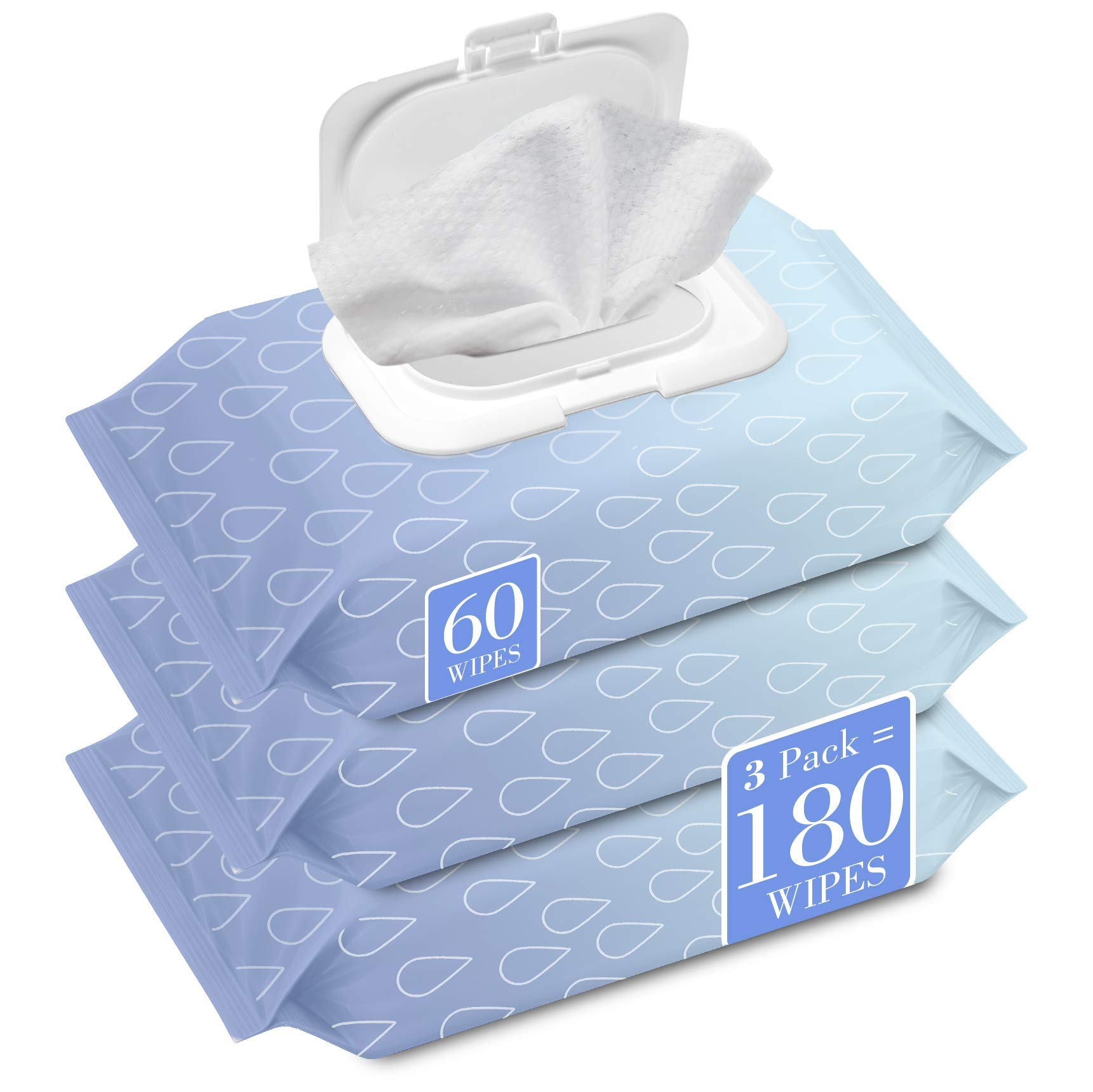 Herb & Luxe Face Wipes, Makeup Remover Facial Cleansing Wipes for Sensitive Skin, 60 Count (Collagen, 3 Pack = 180 Wipes)