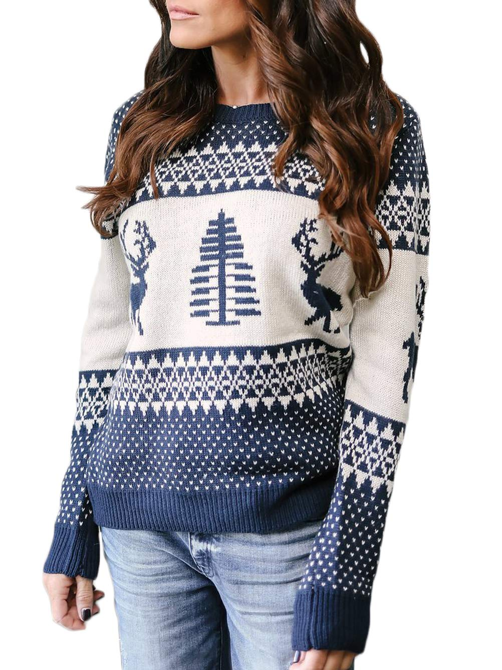 Kaei&Shi Ugly Christmas Sweater,Patterned Tree Reindeer Pullover,Knit Tops for Women,Loose Sweatshirt