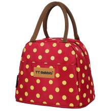 Fashion Polka Dot Lunch Box for Women Soft Liner Thermal Insulation Foil Aluminum Film Bento Bag Large Capacity Waterproof Lunch Bags for Teen Girls Tote Bag (Red)