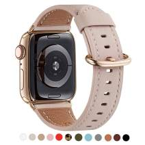 WFEAGL Compatible iWatch band 40mm 38mm,Top Grain Leather Band With Gold Adapter(the Same as Series 5/4 With Gold Stainless Steel Case in Color)for iWatch Series 5 /4/3/2/1(PinkSand Band+Gold Adapter)