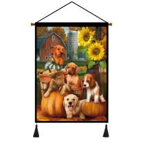 Hanging Posters Painting Home Decoration Sunflower Flower Dog Flag Cotton Linen Scroll Wall Art Print Poste for Living Room Bedroom Dining room (18x26inch)