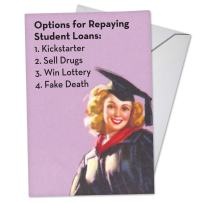 Student Loan Options - Vintage College Graduation Card with Envelope (4.63 x 6.75) - Funny Congratulations Stationery - Happy Graduation Note Card for College Students, Scholar C3577GDG