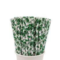 Easy Road 100 Pack Biodegradable Paper Straws, Leaf Printed Paper Drinking Straws for Juices, Shakes, Smoothies, Party Supplies, Birthday, Baby Shower Decorations, Food Safe BPA Free, 7.8 Inches Long