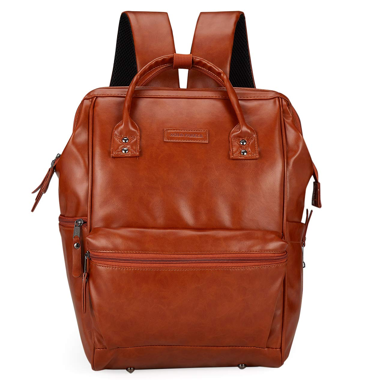 Classic Faux Leather Baby Diaper Bag Backpack, Wide Open Laptop Bag with Stroller Straps, Changing Pad, Multiple Insulated Pockets For Both Moms & Dads Natural Tan Brown