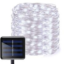 Aluvee Solar String Silver Wire Light,50ft/150LED Outdoor Garden Decoration Silver Wire Christmas Lamp for Wedding Party Tree Xmas Decoration Tree Xmas (White)