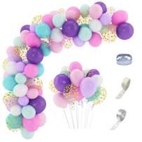 168 Pcs Unicorn Balloon Arch Garland Kit 12'' 10'' 5'' Confetti White Light Purple Pink Aqua Blue Latex Balloons Set for Wedding Baby Shower Unicorn Birthday Party Supplies Decorations with Balloon Strip, Glue Dots & Ribbons