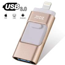 USB Flash Drives Compatible iPhone/iOS 128GB [3-in-1] Lightning OTG Jump Drive, USB 3.0 Thumb Drive External USB Memory Storage, Flash Memory Stick Compatible Apple, iPad, Android & PC (Gold)