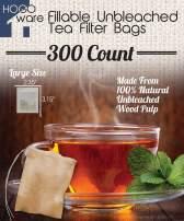 Fillable Tea Bag Filters for Loose Tea, Disposable (Large 6x8 cm, Unbleached)