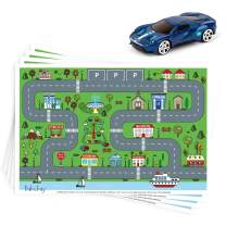 """Disposable Stick-on Placemats 40 Pack for Baby & Kids, Restaurant Table Topper Mat Disposable, Toddler Placemats with Car Toy, 12"""" x 18"""" Sticky Place Mats Roadmap Design BPA Free"""