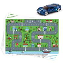 "Disposable Stick-on Placemats 40 Pack for Baby & Kids, Restaurant Table Topper Mat Disposable, Toddler Placemats with Car Toy, 12"" x 18"" Sticky Place Mats Roadmap Design BPA Free"