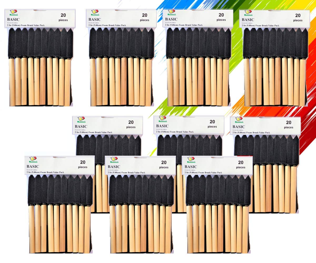 PANCLUB Paint Foam Brush Value Pack 2 Inch - 20 Per/Pack 10 Packs | with Wood Handles | Great for Art, Varnishes, Acrylics, Stains, Crafts