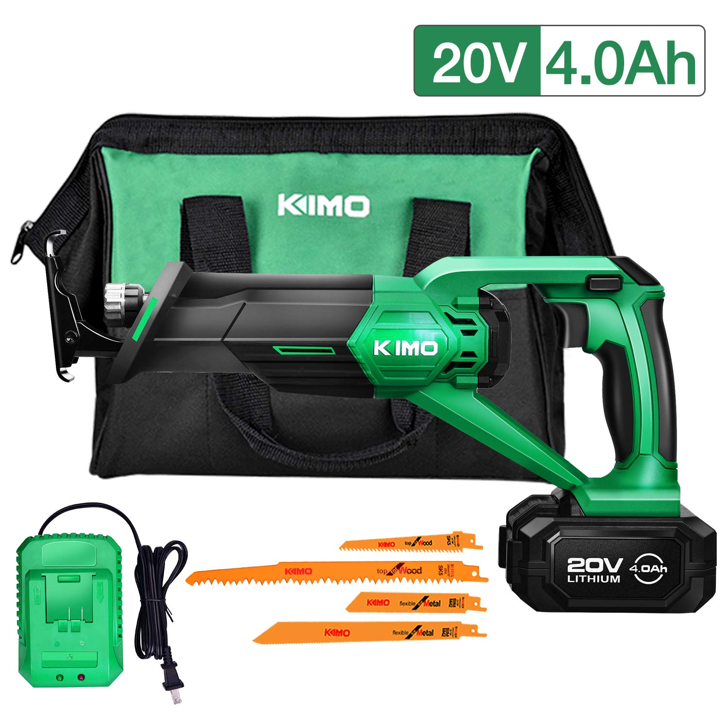 """Cordless Reciprocating Saw – 20V 4.0Ah Compact Saw w/Li-Ion Battery & Charger, Variable Speed 0-3000 SPM, 3/4"""" Stroke Length, 4 Saw Blades, Ideal for Metal Wood Tree Branch Trimming Cutting Pruning"""