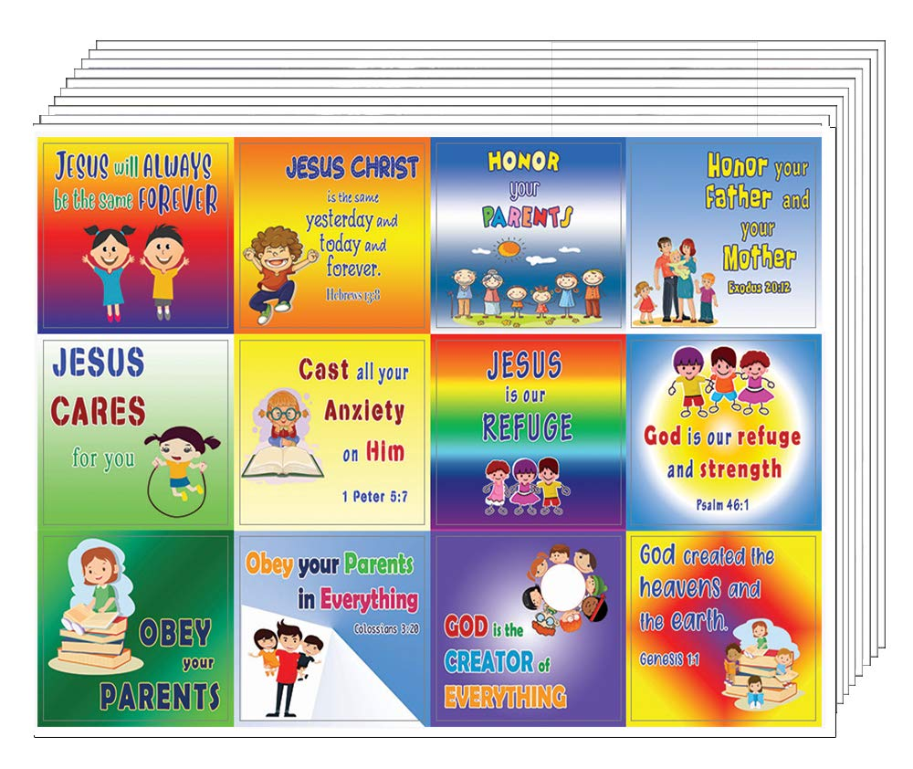 NewEights Bible Verses Every Kid Should Know Stickers (5 Sheet) - Total 60 pcs (5 x 12pcs) Individual Small Size 2.1 x 2 Inches, Waterproof, Unique Designs, Great Variety Colorful Stickers