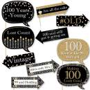 Big Dot of Happiness Funny Adult Birthday - Gold - Birthday Party Photo Booth Props Kit - 10 Piece (Adult 100th Birthday Funny 10 Piece)