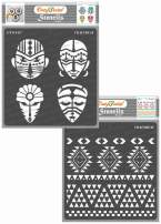 CrafTreat Tribal Stencils for Painting on Wood, Wall, Tile, Canvas, Paper, Fabric and Floor - Congo Face and Aztec Borders - 2 Pcs - 6x6 Inches Each - Reusable DIY Art and Craft Stencils