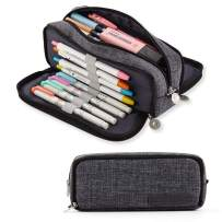 ANGOOBABY Large Pencil Case Big Capacity 3 Compartments Canvas Pencil Pouch for Teen Boys Girls School Students (Black)