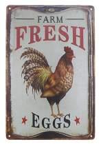 "TISOSO Outdoor Chicken Sign Farm Fresh Organic Eggs Metal Wall Decor Retro Vintage Metal Tin Signs Rustic Farmhouse Country Wall Art Sign 8"" X 12"""