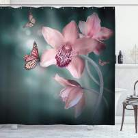 """Ambesonne Floral Shower Curtain, Orchid Flower with Butterfly Soft Fresh Spring Nature Theme Art Photo, Cloth Fabric Bathroom Decor Set with Hooks, 84"""" Long Extra, Rose Green"""