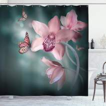 "Ambesonne Floral Shower Curtain, Orchid Flower with Butterfly Soft Fresh Spring Nature Theme Art Photo, Cloth Fabric Bathroom Decor Set with Hooks, 84"" Long Extra, Rose Green"