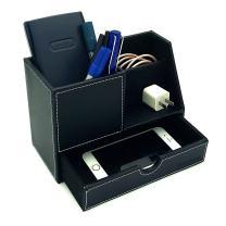 UnionBasic Desk Organizer w/Small Drawer - Pen Holder Pencil Cup Desktop Organizer Card Holder (New Black (L))