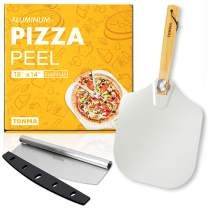 "TONMA 12""×14"" Pizza Peel and 14"" Cutter, Aluminum Metal Pizza Paddle with Foldable Bold Solid Wood Handle, Pizza Spatula and Stainless Cutter Rocker Gift Set for Baking Homemade Pizza Bread Pastries"