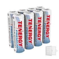 Tenergy 8 Pack Premium Rechargeable AA Batteries, High Capacity 2500mAh NiMH AA Battery, AA Cell Battery with 2 AA Holders
