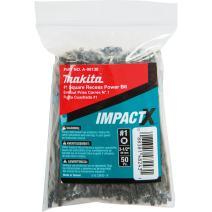Makita A-99138 Impactx #1 Square Recess 3-1/2″ Power Bit, 50 Pack, Bulk
